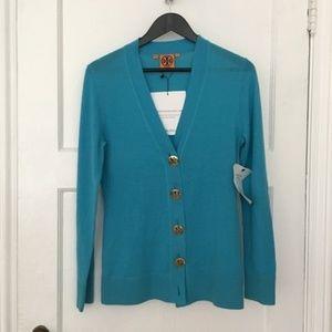 Tory Burch Simone blue gold logo button cardigan